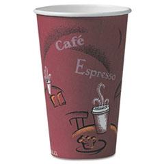 Bistro Design Hot Drink Cups, Paper, 16oz, Maroon, 300/Carton SCCOF16BI0041