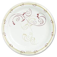 "Symphony Paper Dinnerware, Mediumweight Plate, 8 1/2"" Round, Tan, 125/Pack SLOMP9J8001PK"