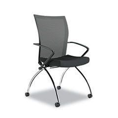 Valoré Training Series High-Back Nesting Chair, Mesh/Fabric, Black, 2/Carton