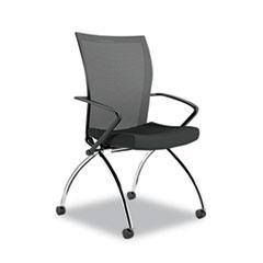 Valoré Training Series High-Back Nesting Chair, Mesh/Fabric, Black, 2/Carton