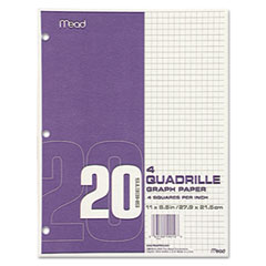 Graph Paper, Quadrille (4 sq/in), 8 1/2 x 11, White, 20 Sheets/Pad, 12 Pads/Pack