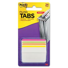 Angled Tabs, 2 x 1 1/2, Striped, Assorted Brights, 24/Pack