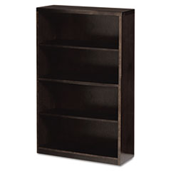 Mira Series Wood Veneer Four-Shelf Bookcase, 34-1/2w x 12d x 68h, Espresso