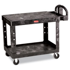 Flat Shelf Utility Cart, Two-Shelf, 25-1/4w x 44d x 38-1/8h, Black RCP452500BK