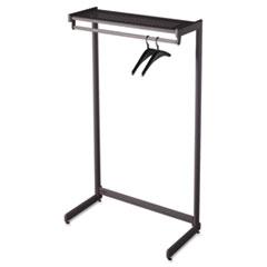 "Single-Side Garment Rack w/Shelf, Powder Coated Textured Steel, 48"" Wide, Black QRT20214"