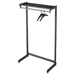 "Single-Side Garment Rack w/Shelf, Powder Coated Textured Steel, 36"" Wide, Black"