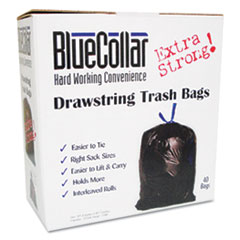 Drawstring Trash Bags, 20-30 gal, 1.0 mil, 30 x 34, Black, 40/Box