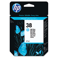 HP 38, (C9418A) Light Cyan Pigment Original Ink Cartridge