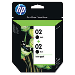 HP 02, (C9500FN) 2-pack Black Original Ink Cartridges