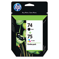 HP 74, (CC659FN) Black / HP 75, Tri-Color 2-pack Original Ink Cartridges