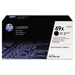HP 49X, (Q5949X-D) 2-pack High Yield Black Original LaserJet Toner Cartridges