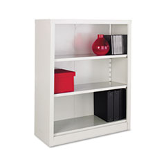 Metal Bookcase, 3 Shelves, 34-1/2w x 13d x 42h, Light Gray