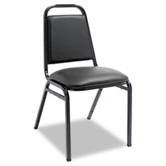 Padded Steel Stack Chair w/Square Back, Black Vinyl, Black Frame, 4/Carton ALESC68VY10B