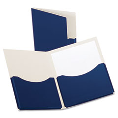 Double Stuff Gusseted 2-Pocket Laminated Paper Folder, 200-Sheet Capacity, Navy