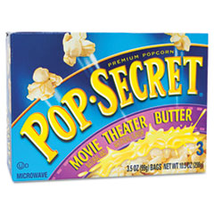 Microwave Popcorn, Movie Theater Butter, 3.5oz Bags, 3/Box DFD57690