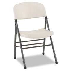 Endura Series Resin Molded Folding Chair, Pewter Frame/White Speckle, 4/Carton