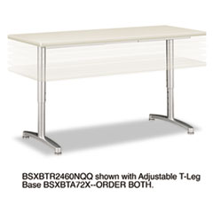 Rectangular Training Table Top Without Grommets, 60w x 24d, Light Gray
