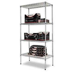 NSF CERTIFIED INDUSTRIAL WIRE SHELVING KIT, 4 SHELF, SILVER,