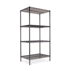 NSF CERTIFIED INDUSTRIAL WIRE SHELVING,  4 SHELVES, BLACK