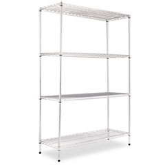 NSF CERTIFIED INDUSTRIAL WIRE SHELVING KIT, 4 SHELF, SLIVER,