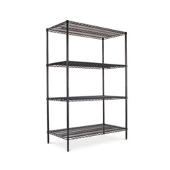 NAF CERTIFIED INDUSTRIAL WIRE SHELVING, 4 SHELF, BLACK,