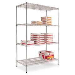 Wire Shelving Starter Kit, Four-Shelf, 48w x 24d x 72h, Silver ALESW504824SR