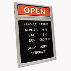 Message/Business Hours Sign, 15 x 20 1/2, Black/Red