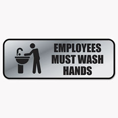 Brushed Metal Office Sign, Employees Must Wash Hands, 9 x 3, Silver COS098205