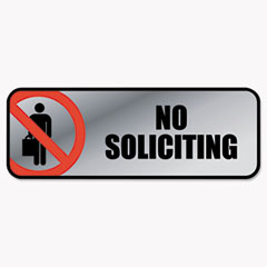 Brushed Metal Office Sign, No Soliciting, 9 x 3, Silver/Red COS098208