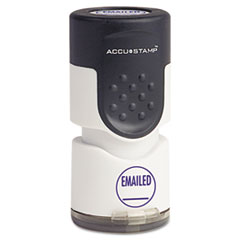 "Accustamp Pre-Inked Round Stamp with Microban, EMAILED, 5/8"" dia, Blue"
