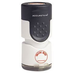 """Accustamp Pre-Inked Round Stamp with Microban, INITIAL HERE, 5/8"""" dia, Red"""