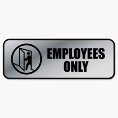Brushed Metal Office Sign, Employees Only, 9 x 3, Silver COS098206