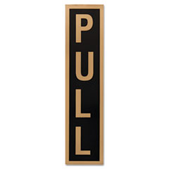 Business Decal Sign, Push/Pull, 1 7/8 x 7 3/4, Black/Gold