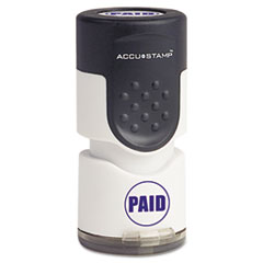 "MotivationUSA * Accustamp Pre-Inked Round Stamp with Microban, PAID, 5/8"" dia, Blue at Sears.com"