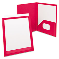 ViewFolio Polypropylene Portfolio, 50-Sheet Capacity, Red/Clear