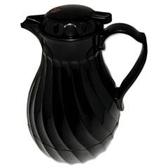 Poly Lined Carafe, Swirl Design, 40oz Capacity, Black