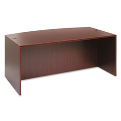 Alera Valencia Bow Front Desk Shell, 71w x 35 1/2d to 41 3/8d x 29 5/8h Mahogany