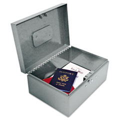 Locking Heavy-Duty Security Box, Tumbler Lock, Gray