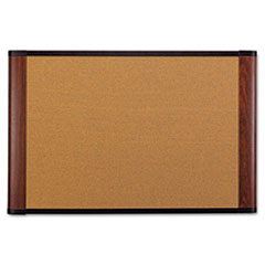 Cork Bulletin Board, 72 x 48, Aluminum Frame w/Mahogany Wood Grained Finish