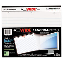 WIDE Landscape Format Writing Pad, College Ruled, 11 x 9 1/2, White, 75 Sheets