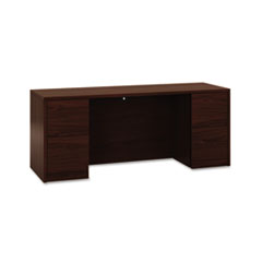 10500 Series Kneespace Credenza With Full-Height Pedestals, 72w x 24d, Mahogany