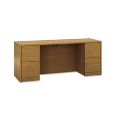 10500 Series Kneespace Credenza With Full-Height Pedestals, 72w x 24d, Harvest