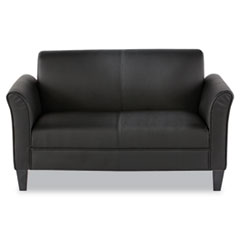 Reception Lounge Furniture, 2-Cushion Loveseat, 55-1/2w x 31-1/2d x 32h, Black
