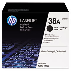 HP 38A, (Q1338D) 2-pack Black Original LaserJet Toner Cartridges