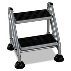 COU ** Rolling Commercial Step Stool, 2-Step, 19 7/10 Spread, Platinum/Black at Sears.com
