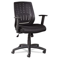 Mesh Manager's Synchro-Tilt Mid-Back Chair, Black Arms/Base, Black OIFEM4217
