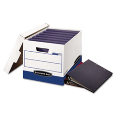BINDERBOX Storage Box, Locking Lid, 12 1/4 x 18 1/2 x 12, White/Blue, 12/Carton