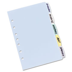 Translucent Multicolor Write-On Dividers, 5-Tab, 8-1/2 x 5-1/2, 1 Set