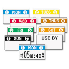 FreshMarx Freezx Color-Coded Labels, Sunday, White/Black, 2500/Roll