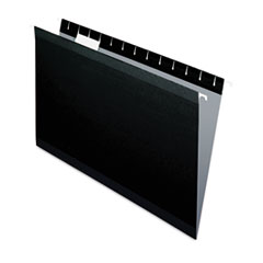Colored Reinforced Hanging Folders, Legal Size, 1/5-Cut Tab, Black, 25/Box